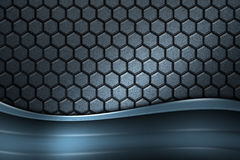 Blue banner on gray carbon fiber hexagon. Background and texture. 3d illustration Stock Image