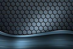 Blue banner on gray carbon fiber hexagon. Stock Image