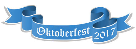 Blue banner for Oktoberfest 2017 Stock Photos