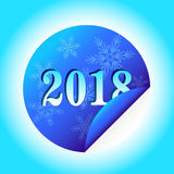 Blue banner 2018 in the shape of a circle, isolated on light background, with snowflakes. Template design for New year Royalty Free Stock Images