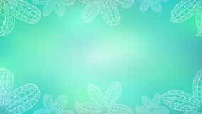 Blue Banner with White Decorative Easter Lily. Blurred Blue Banner with White Decorative Easter Lily Placed on the Edge as a Frame. Delicate Background for royalty free illustration