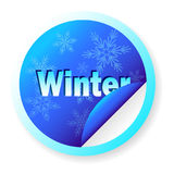 Blue banner Winter in the shape of a circle, isolated on white, with snowflakes. Template for design Stock Image