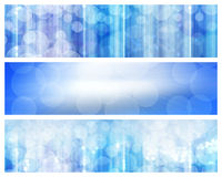 Blue banners. Abstract banners with bokeh effect in blue tones Royalty Free Stock Photo