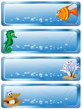 Blue banners. Sea banners with cartoon animals and bubbles Stock Images
