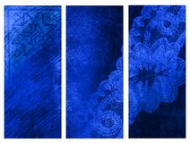 Blue banners. Set of three blue colored vertical banners Stock Images