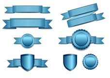 Blue Banners with Shield and Rosette Royalty Free Stock Images