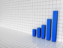 Blue Bar Chart on 3D grid. Illustration of a 3D bar chart on a black and white grid Royalty Free Stock Image