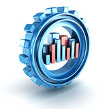 Blue bar chart gear work icon Stock Photo