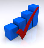 Blue bar graph and check mark. A three-dimensional blue bar graph indicating an increasing or rising trend and a red check mark or sign in the foreground Stock Photos