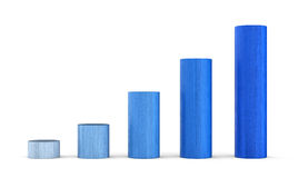 Blue bar graph. Blue 3d bar graph on white background with rising bars right to left Stock Image