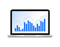 Blue bar graph in laptop monitor,. Flat design. Vector illustration isolated on white background Royalty Free Stock Photography