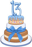 Blue Bar Mitzvah Cake For 13th Birthday. Vector illustration of 3 floors blue cake with the number 13 on top for Bar Mitzvah Royalty Free Stock Images