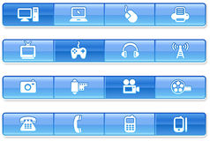 Blue Bar Technology Icons Stock Image