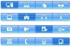 Blue Bar Technology Icons.  Stock Image