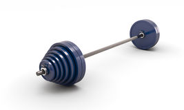 Blue barbell  on white. Background. 3d render image Stock Photography