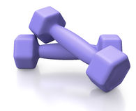 Blue barbells for training lifestyle. Small barbells covered with blue rubber on white background Royalty Free Stock Images