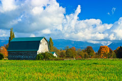 Blue barn in country farm, Washington Royalty Free Stock Image