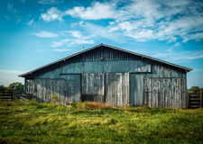 Blue Barn in Summer Stock Photography