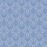 Blue baroque style damask vector seamless pattern stock illustration