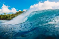 Blue barrel wave in ocean. Wave and sky in Bali. Blue barrel wave in ocean. Wave and sky Royalty Free Stock Photography