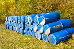 Blue barrels Royalty Free Stock Photos