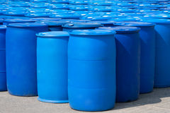 Blue Barrels Stock Photography