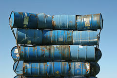 Blue barrels. Art construction of blue metal barrels Royalty Free Stock Image