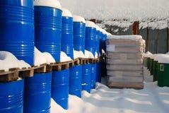 Blue barrels stock photos