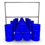 Blue barrels and billboard Stock Photography
