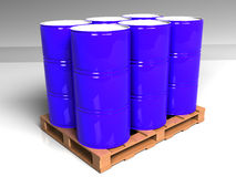 Blue barrels on the pallet Royalty Free Stock Photo