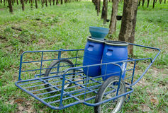 Blue barrow for harvesting Royalty Free Stock Photography