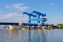 Blue bascule bridge Royalty Free Stock Photos