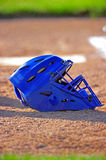 Blue baseball catchers mask Royalty Free Stock Images