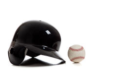 Blue baseball helmet and baseball Stock Photos