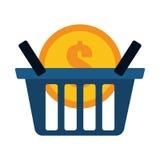 Blue basket buy coin dollar Stock Image