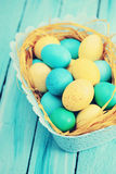 Blue basket of eggs, tinted Royalty Free Stock Photo