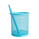 Blue basket for an office with a blue marker. Business concept. Royalty Free Stock Photography