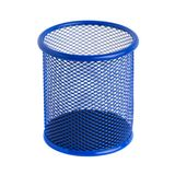 Blue basket for pens and pencils on the white background Stock Photo