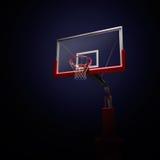 Blue basketball houp in light shine. Blue asketball houp in light shine. 3d render illustration on black background royalty free illustration