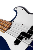 Blue bass guitar close up Royalty Free Stock Photo