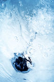 Blue bath background with black cover Royalty Free Stock Images