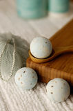 Blue bath fizzies. Blue spa accessories on white with bamboo Stock Photography