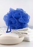Blue bath puff Royalty Free Stock Photography