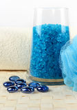 Blue bath salt. And a towel Royalty Free Stock Photo