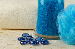 Blue bath salt. And a towel Royalty Free Stock Photography