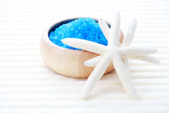 Blue bath salt. On towel - beauty treatment Stock Photography