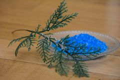 Blue bath salt. For relaxation and aromatherapy Royalty Free Stock Image