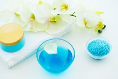 Blue Bath Salt, Body Cream and Shells For Spa on White Table Bac. Kground Royalty Free Stock Images