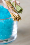 Blue Bath Salt in Glass Royalty Free Stock Image