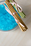 Blue Bath Salt in Glass Royalty Free Stock Photos